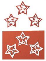 Filc figura csillag áttört fehér - piros
