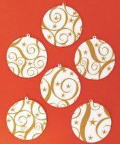 Filcfigura - Gömb, festett, fehér-arany