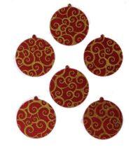 Filcfigura - Gömb, festett, bordó-arany