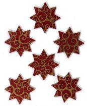Filcfigura - Nyolcágú csillag, festett, bordó-arany (6 db/cs, átm. kb.: 6 cm)