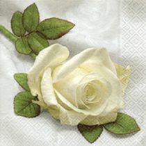 szalvéta, dekorszalvéta, dekupázs, decoupage, rózsa, fehér rózsa, rózsaszál
