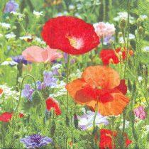 szalvéta, dekorszalvéta, dekupázs, decoupage, pipacs, nyári virágok, színes virágok