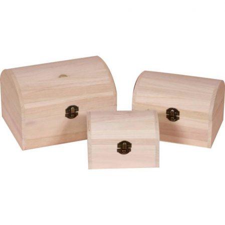 Fa doboz szett láda formájú 3 darabos