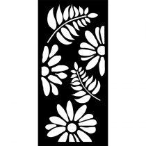 Stencil 25 cm x 12 cm x 0,5 mm - Virágok és levelek