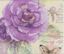 szalvéta, dekorszalvéta, dekupázs, decoupage, pillangó, lila rózsa, vintage