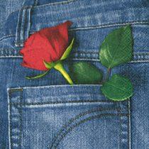 szalvéta, dekorszalvéta, dekupázs, decoupage, rózsa, farmer, farzseb, vörös rózsa, piros rózsa
