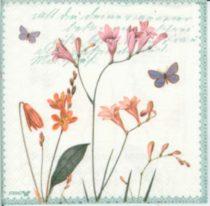 szalvéta, dekorszalvéta, dekupázs, decoupage, tavaszi virág, pillangó