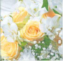 dekorszalvéta, szalvéta, dekupázs, decoupage, rózsás szalvéta, sárga rózsa
