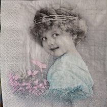 Dekorszalvéta - Turquise girl - Kislány virágcsokorral - kék - rózsaszín