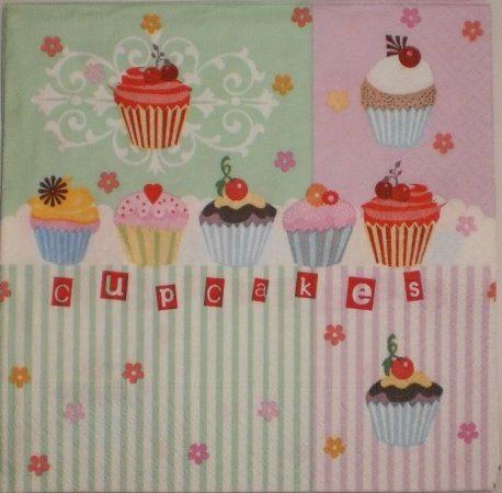 Dekorszalvéta - Muffin Cupcake Csíkos