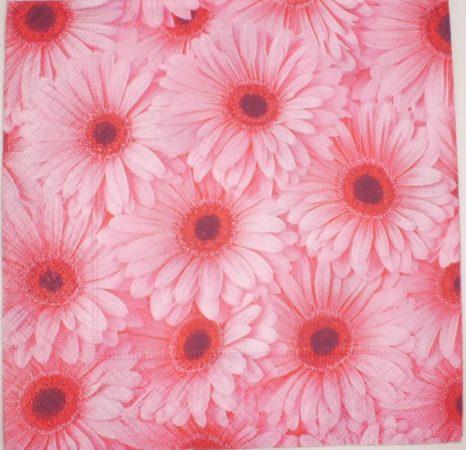 Dekorszalvéta - Rózsaszín Gerbera Virág