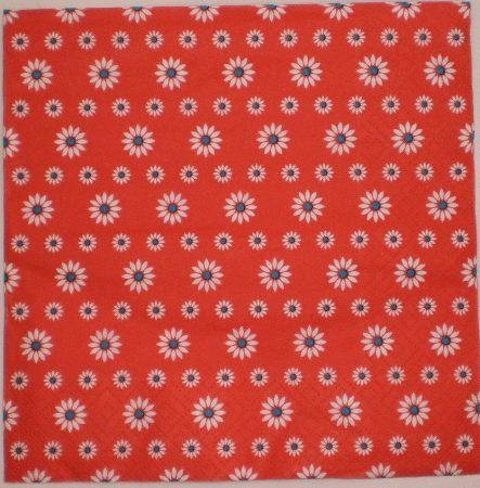 Dekorszalvéta - Piros Kék Fehér Virág