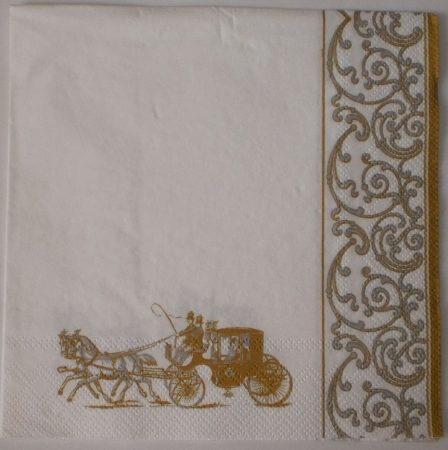 Dekorszalvéta - Esküvő Hintó Arany Fehér