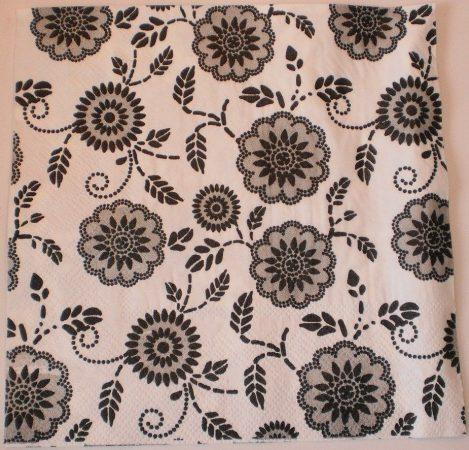 Dekorszalvéta - Fekete Fehér Virágok