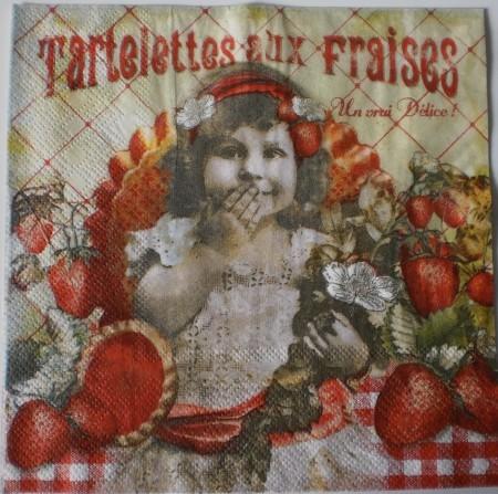Dekorszalvéta - Tartelettes aux fraises