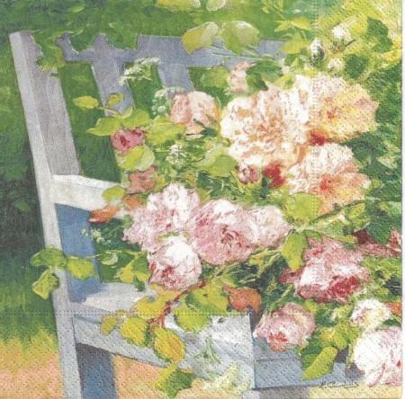 Dekorszalvéta - Fowers on Bench / kert, szék, virág, csokor